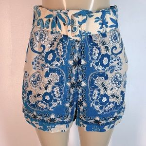 Johnny Was Igory High Waisted Shorts Blue Small